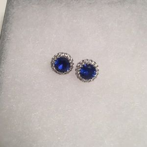 Sapphire and diamond-looking halo stud earrings
