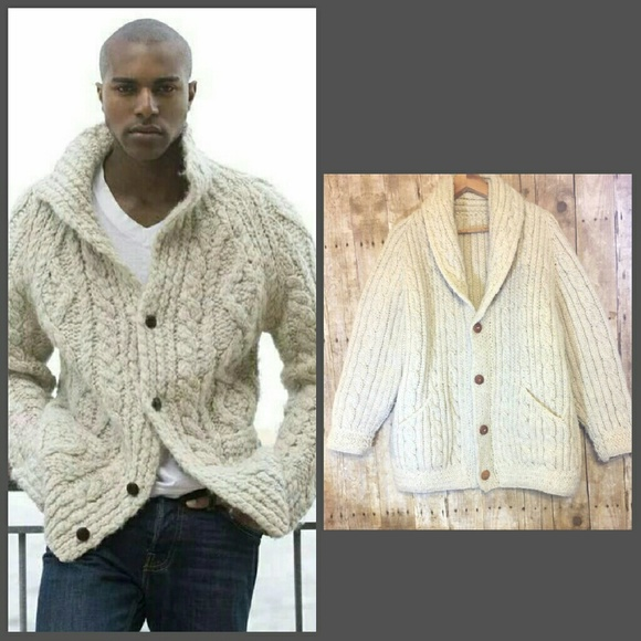 8d6fce30d49d6 Hand Knit Chunky Cable Irish Fisherman Cardigan. M 584f1d5dc2845611b304d604