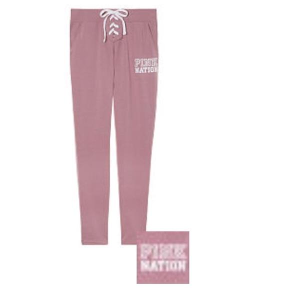 7f8275cc02a53 PINK Victoria's Secret Pants | Nwt Vs Pink Lace Up Begonia Campus ...