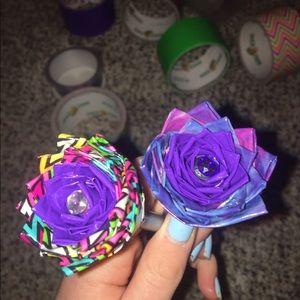 (2) Duck Tape flower pens