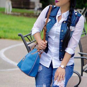 Handbags - Valentina leather blue bag