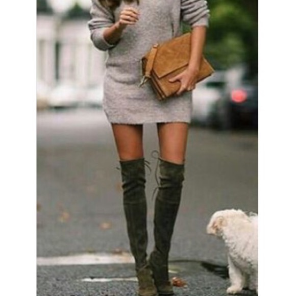 Shoes | Olive Green Over The Knee Boots