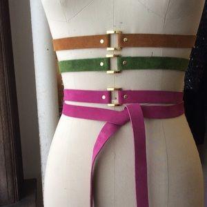 Karen Zambos Accessories - Elegantly Waisted Suede Multiway Belt