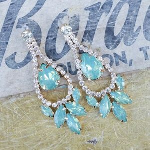 Jewelry - 🌹 Large Turquoise Teal Milky Opal Earrings