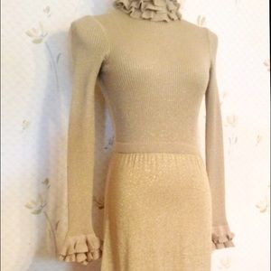 Gorgeous Vintage Gold Lurex Fitted Gown, Small