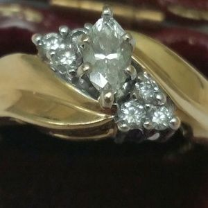 Jewelry - 14k gold .66ctw marquise diamonds engagement ring