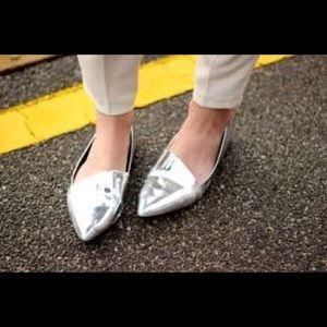 Zara metallic silver flats pointy toe flats