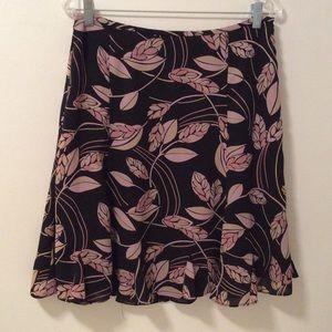 LOFT Black Print Skirt