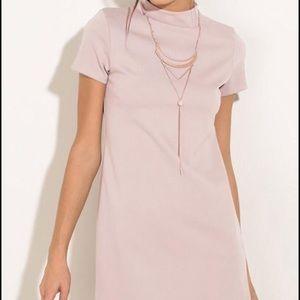 Dresses & Skirts - Mock Neck Dolphin Hem Shift Dress - Baby Pink