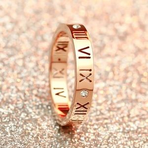 Rose Gold Roman Numeral Laser Cut Out Ring