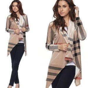 Sweaters - 😍S-L Velvet Taupe Plaid Cardigan