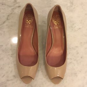 Vince Camuto peep toe heels patent leather
