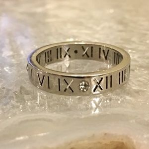 Sterling Silver Roman Numeral Laser Cut Out Ring
