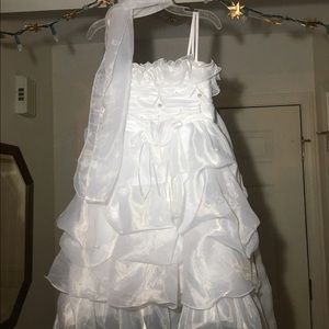 Kids Ornate white formal dress and scarf