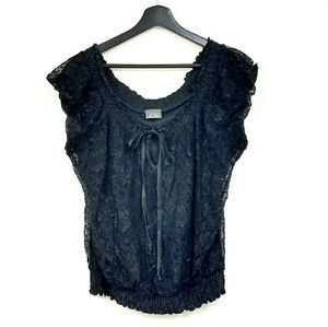 Tops - Lace Front Bow Tie Blouse