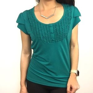 Tops - NWOT, turquoise ruffle front top