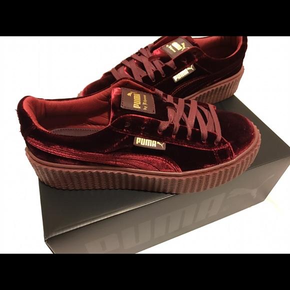 Fenty Puma by Rihanna Creeper Royal Purple Velvet Sneakers In Size 9