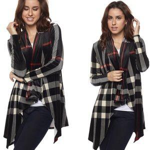 Sweaters - 5🌟RATED Velvet Black Plaid Cardigan S-L
