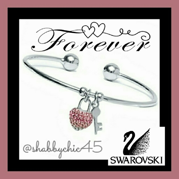 Swarovski Jewelry - Silvertone Key to my Swarovoski Heart Arm Cuff