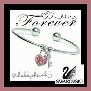 Silvertone Key to my Swarovoski Heart Arm Cuff