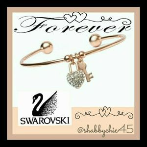 Swarovski Jewelry - Rose Gold Key to my Swarovoski Heart Arm Cuff