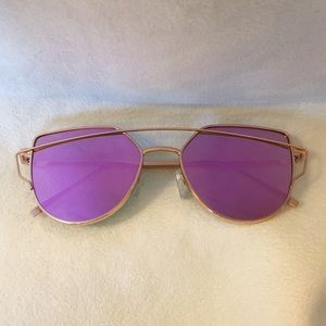 Accessories - Rose Gold Cat Eye Aviator Sunglasses
