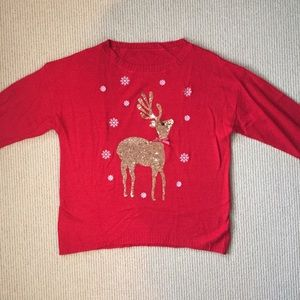 Sweaters - Christmas Sweater with Sequin Reindeer