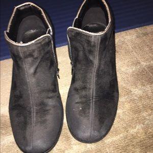 Amour black lamb hide leather Zipper girl booties