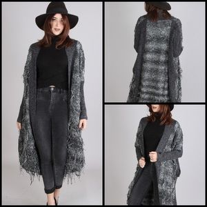 Sweaters - Edgy Gray Maxi Sweater Coat With Knit Fringe