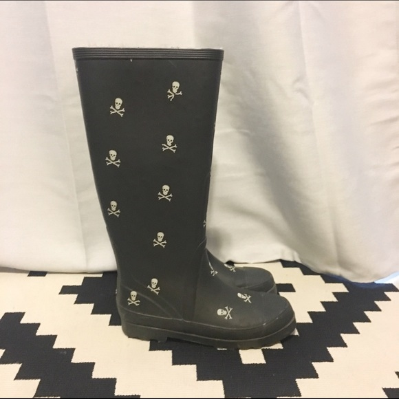 82% off J. Crew Shoes - J. Crew Skull and Crossbone Rain boots ...