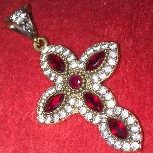 Jewelry - ❤️RUBY & WHITE TOPAZ CROSS PENDANT•925K STERLING❤️