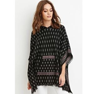 Forever 21 Hooded Diamond Print Poncho