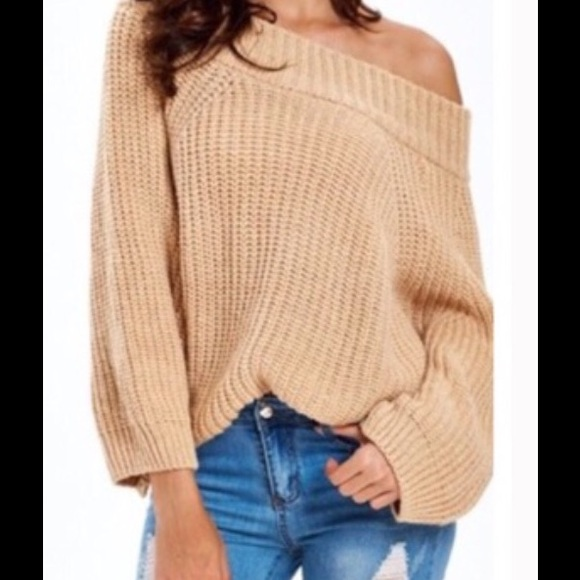 62% off Sweaters - Last 1🎉Cream Wide Boat Neck/Off Shoulder ...