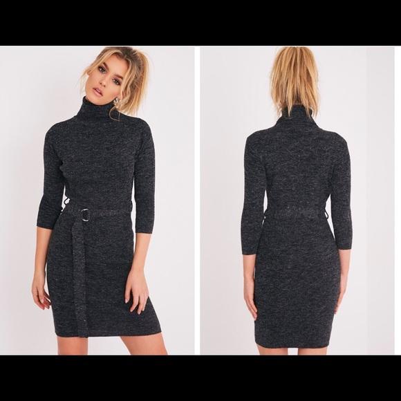 Dresses Black Knitted Jumper Dress Warm With Cute Belt Poshmark