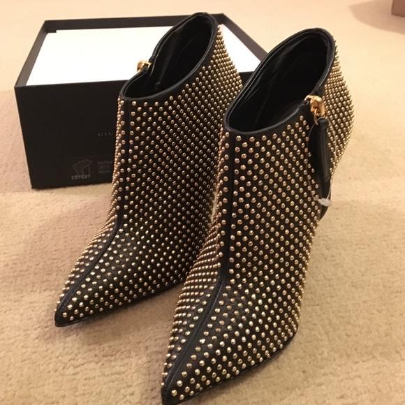 431b4b57e3c9e Giuseppe Zanotti Shoes | Ester Black Gold Studded Bootie | Poshmark