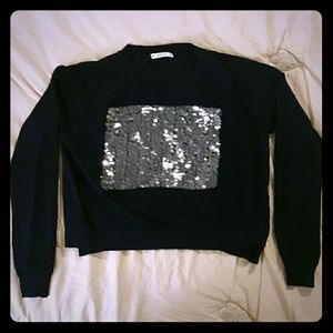 NWOT Zara Knit Cropped Sweater with Sequin Block