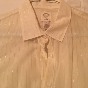 J Crew Tops - JCrew Gold inlay The Perfect Shirt blouse L/S