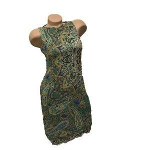 Green paisley vintage sleeveless dress size 4