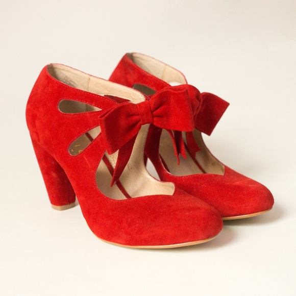56% off Office Shoes - Office London Red Suede Bow Heels from ...