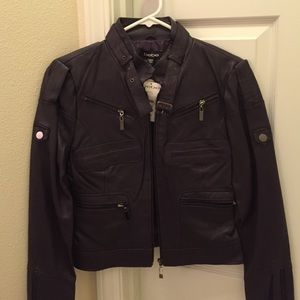 bebe Jackets & Blazers - Nwt Bebe purple leather Moto jacket size s