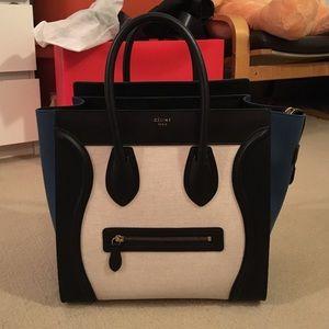 Celine Handbags - Celine Mini Luggage in Metallic blue.