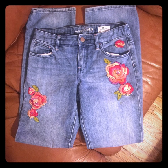 GAP Girls embroidered jeans