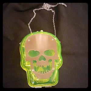 NWOT Skull clutch purse