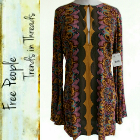 30ed724c11 NWT Free People Ossie Vibes Bell Sleeve Tunic 4