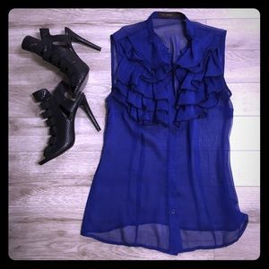 Tops - The Limited blue ruffle button down