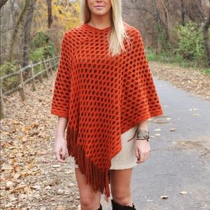 Sweaters - Orange Fringe Poncho