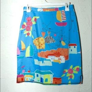 Sara jane Dresses & Skirts - Blue pencil skirt with colorful funky illustration