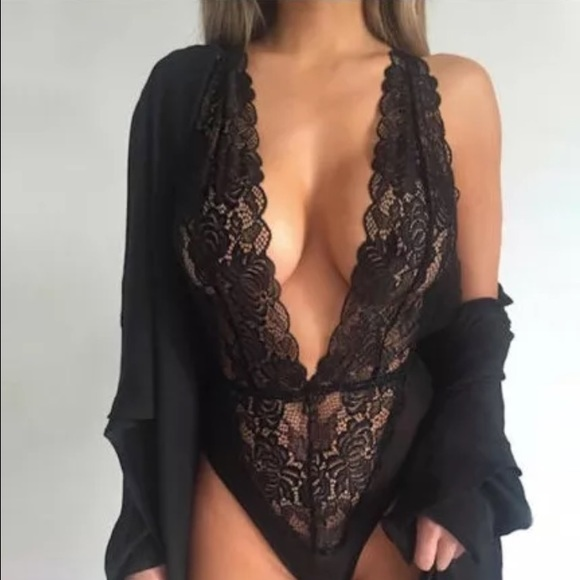 Sexy Black Lace Bodysuit Deep V Neck One Piece 40840b878