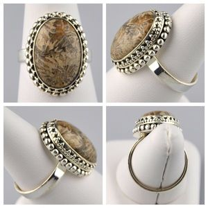 Jennies Jewelry Chest Jewelry - Fossil Coral .925 Sterling Silver Ring