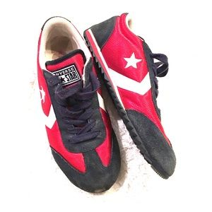 Red blue white converse sneakers 6.5